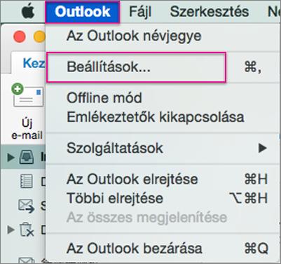 Outlook menü > Beállítások