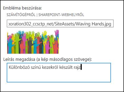 A SharePoint Online új webhelycím és -embléma megadására szolgáló párbeszédpanelje, amelyen látható, hogy miként hozhat létre helyettesítő szöveget egy emblémaképhez