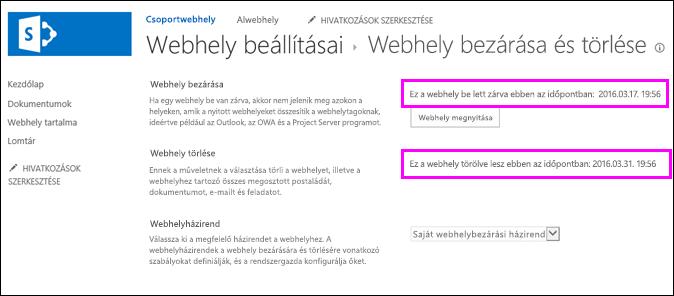 A Webhely bezárása és törlése lap dátumokkal