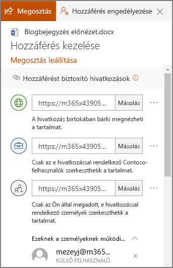 Képernyőkép a megosztási hivatkozásokat megjelenítő hozzáférés kezelése panelről.