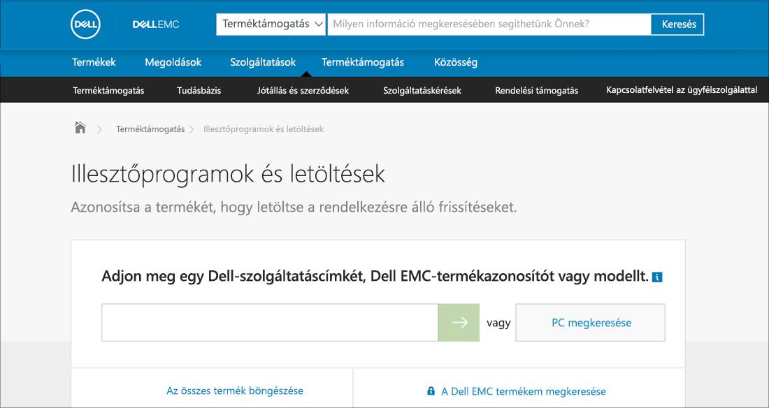 Dell-illesztőprogramok és letöltések, OEM-példa