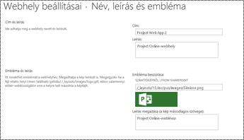 Leírásának és a webhely emblémájának alttext a Project Online-ban