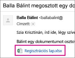 A címzetteket dokumentummegosztásra felkérő e-mail