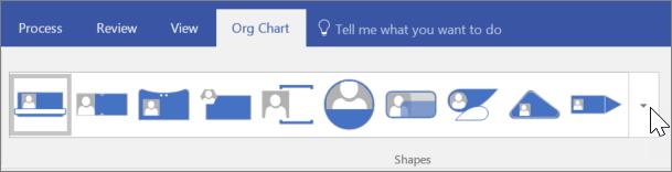 Képernyőkép a szervezeti diagram eszköztárról