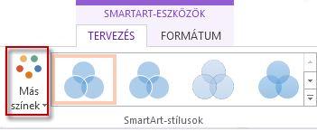 A Más színek gomb a SmartArt-stílusok csoportban