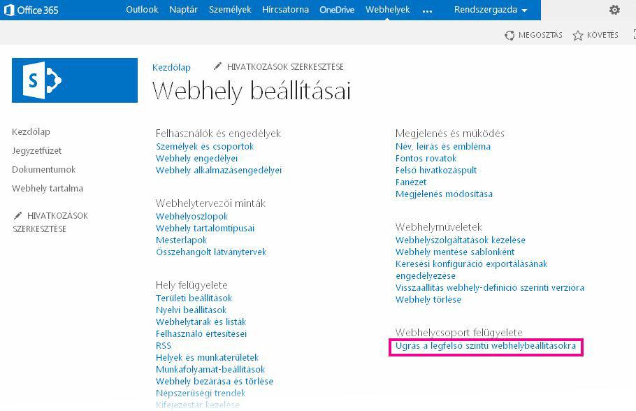 Ugrás a legfelső szintű webhelybeállításokra