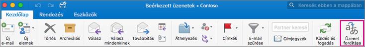 Fordítás gomb a Mac Outlook menüszalagján