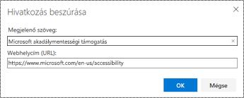 Hivatkozás párbeszédpanel a webes Outlookban.