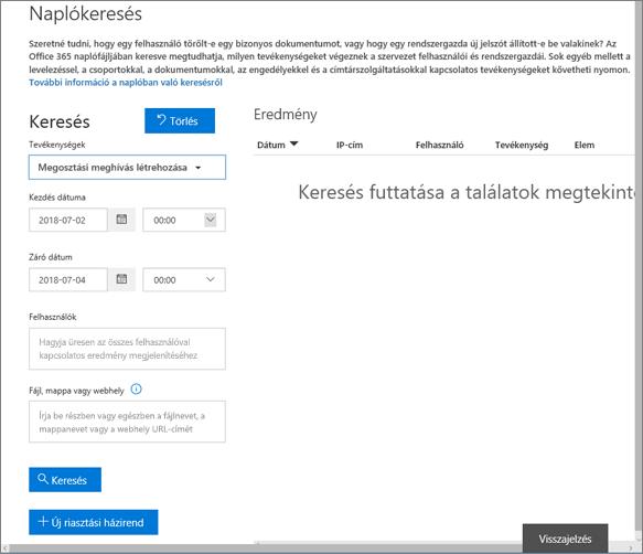 Meghívók létrehozására szűrt Office 365-ös tevékenységjelentés