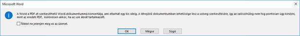 A Word megerősíti, hogy a program megpróbálja újrarendezés a PDF-fájl megnyitása.