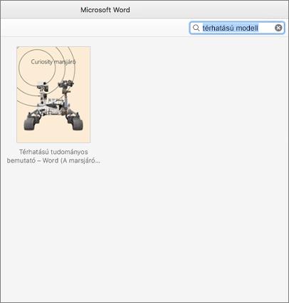 Térhatású modelleket tartalmazó sablonok keresése a Mac Wordben