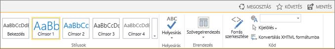 Képernyőkép a SharePoint Online menüszalagjáról a Megosztás, a Követés és a Mentés vezérlővel