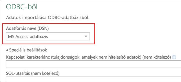 Power Query – ODBC-összekötő – Támogatás a felhasználó/rendszer DNS-einek kiválasztásához