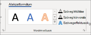 WordArt Styles group of options