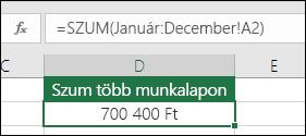 3d SUM across Named Sheets.  A D2 cellákban a képlet a következő: =SZUM(Január:December! A2)