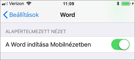 A Word elindítása a Mobilnézet beállítás kiválasztásával