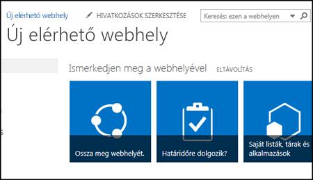 A webhely testreszabásához használt csempéket megjelenítő új SharePoint-webhely