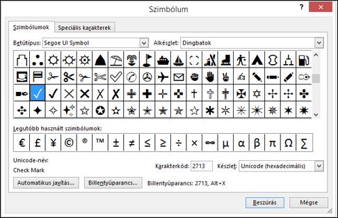 A Wingdings betűtípusban elérhető különleges karakterek listája.