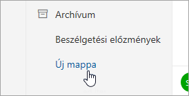 Képernyőkép az Új mappa gombról