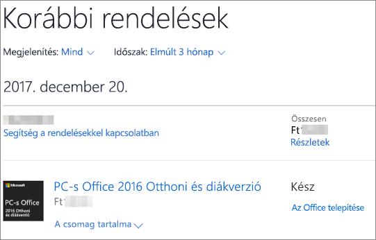 A Korábbi rendelések lap a Microsoft Store áruházban