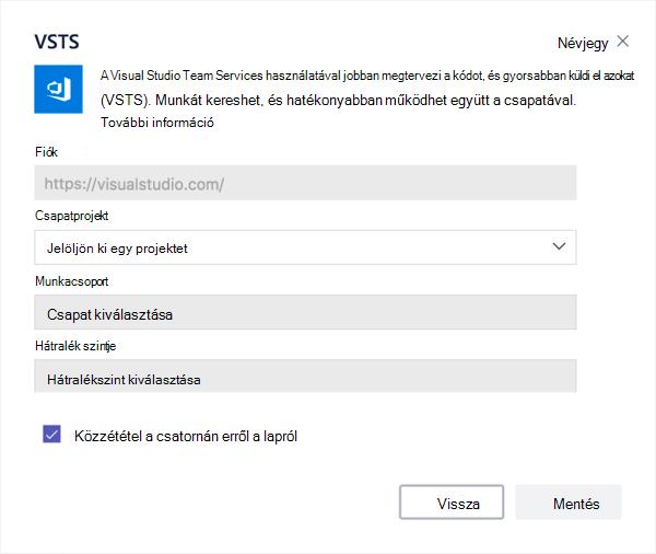 Visual Studio párbeszédpanel egy Kanbantábla hozzáadása egy laphoz