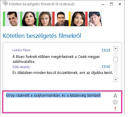 Módosított betűtípusú és hangulatjelet tartalmazó üzenetet megjelenítő csevegőszoba ablakának képernyőképe