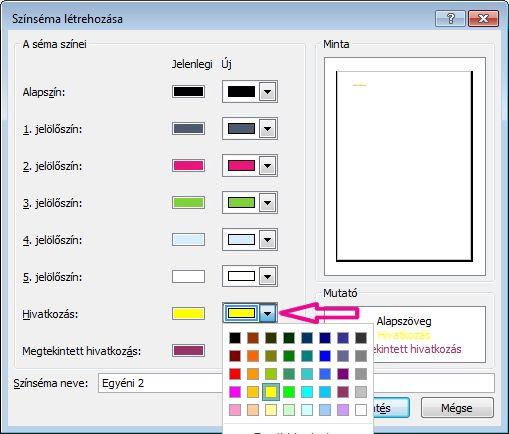 Új színséma létrehozása a Publisherben a hivatkozások színének módosításához