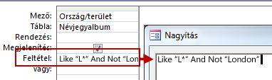 A NOT és az AND NOT kifejezést használó lekérdezés és a keresésből kihagyandó szöveg