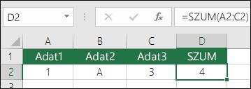 Helyes képletszerkesztés.  Az =A2+B2+C2 helyett a D2 cellában szereplő képlet a következő: =SZUM(A2:C2)