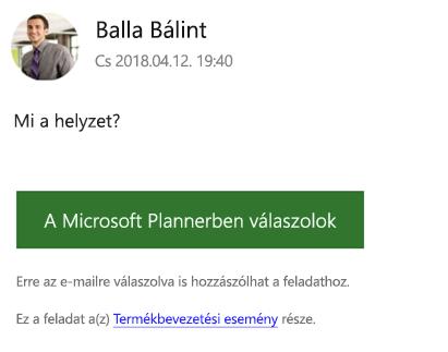 Képernyőkép: Egy csoportos e-mailre kapott példa