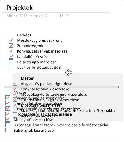 A jegyzettárolók áthelyezhetők egy lapon a OneNote-ban
