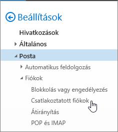 Képernyőkép – A Levelezési beállítások menü, benne a Fiókok csoport Csatlakoztatott fiókok parancsa