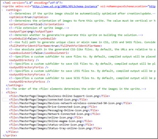 Előre gyártott grafikai elemeket (sprite-okat) tartalmazó XML-fájl képernyőképe