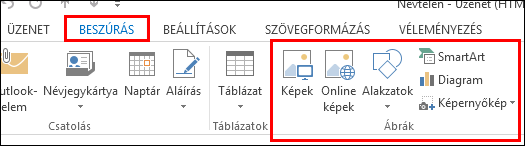 Az Outlook 2013 Kép beszúrása gombja