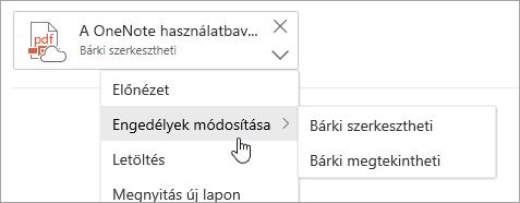 Képernyőkép a További műveletek menüről a kijelölt Engedélyek módosítása paranccsal