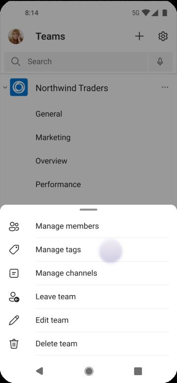 Címkék kezelése a Teamsben Android-eszközön