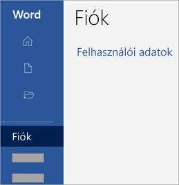 Képernyőkép a fiók-területről egy Office-alkalmazásban