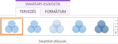 A SmartArt-eszközök eszközcsoport Tervezés lapjának SmartArt-stílusok csoportja