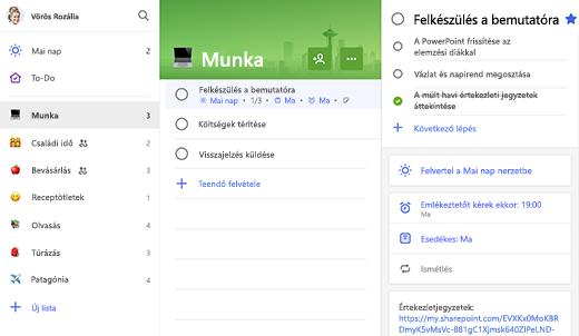 Képernyőkép a Munka listáról a részleteket megjelenítő nézetben látható, bemutatóra való előkészítésre szolgáló választógombbal