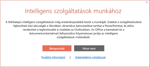 Az Office Intelligent Services opt-in párbeszédpanele