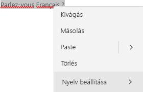Francia szöveg kijelölve, a nyelv beállítására szolgáló helyi menüvel