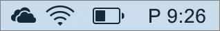 A OneDrive ikonja a Mac rendszertálcáján