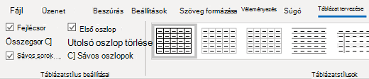A Windows Outlook asztali tervezés Táblázatstílusok csoportja