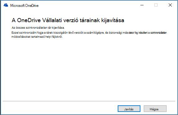 A OneDrive Vállalati verzió szinkronizálási ügyfélalkalmazás Javítás párbeszédpanelje