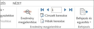 Képernyőkép a Word Levelezés lapjáról, amelyen az Eredmény megjelenítése csoport. látható