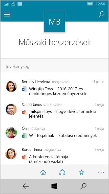 Windows 10 Mobile tevékenység, a fájljait, a listák és a navigációs mutató