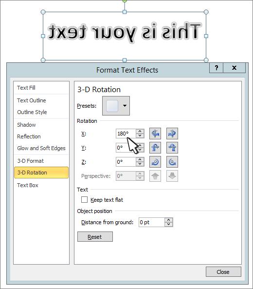 Az x térhatású forgatás beállítása az 180-be