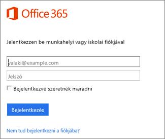 A portal.office.com bejelentkezési lapja