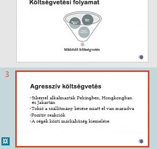 A változtatások kiemelt megjelenítése a PowerPoint miniatűrök ablaktábláján