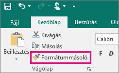 A Formátummásoló gomb a Publisherben